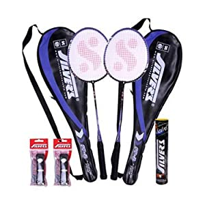 Combo of Silver's Flex Power Badminton Rackets + 2 Covers + 10 Shuttlecock Marvel + 2 Pvc Grips