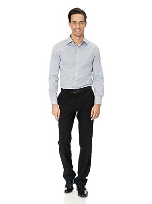 Vincenzo Boretti Baumwollhemd - Slim Fit, tailliert, Twill, gestreift, bügelfrei (Weiß/Blau)