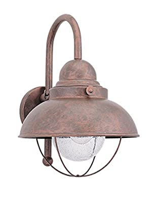 Seagull Lighting Sebring Large LED Outdoor Wall Lantern, Weathered Copper