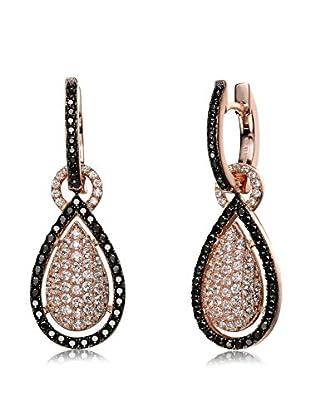 Megan Walford Black/White CZ Rose-Tone Sterling Silver Pear-Shaped Drop Earrings