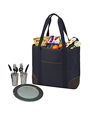 Picnic At Ascot 423-Cb Large Insulated Tote For Two, Navy