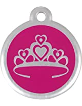 RedDingo Tiara Tag with Call Center Number, Large, Pink