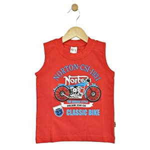 boys sleeveless t-shirt, red, 4-5 years