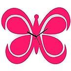 Mebelkart Zeeshaan Fluttering Butterfly Clock Pink