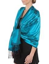 FUPashRose06AG Lightweight Two Tone Rose Floral Design Pashmina Fringe Scarf / Stole / Wrap - Turquoise / Black