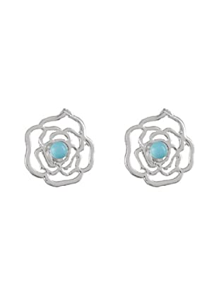 Silver One Pendientes Roseta Turquesa