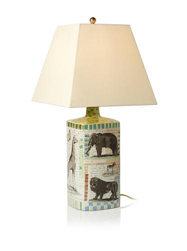 John Derian Giraffe Hand-Painted Porcelain Lamp, Multi