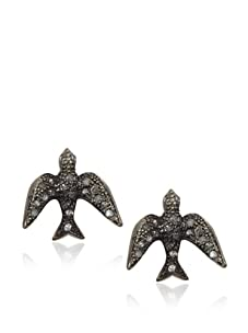 Made Her Think Oxidized Silver and Diamond Swallow Post Earrings