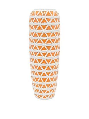 Three Hands Skinny Trellis Ceramic Vase, Orange/White