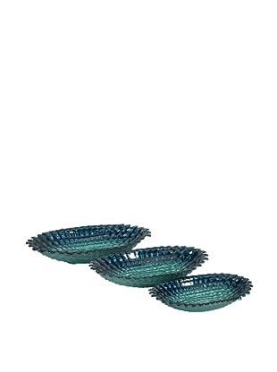 Set Of 3 Arena Glass Bowls, Ocean Blue