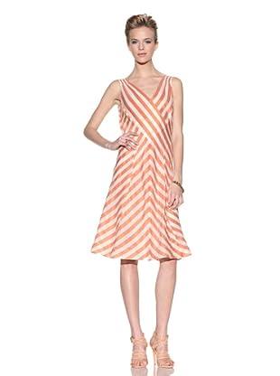 Giorgio Armani Women's Striped V-Neck Dress (Tangerine)