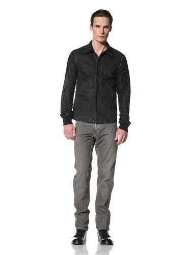 Rick Owens DRKSHDW Men's Prisoner Leather Sleeve Jacket (Dark Shadow)