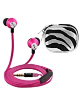 iKross In-Ear 3.5mm Noise-Isolation Stereo Earbuds with Microphone (Hot Pink / Black) + Zebra Accessories Carrying Case for Apple iPhone iPod iPad BlackBerry HTC LG Motorola Nokia Samsung Cellphone Tablet MP3 Player eBook and more
