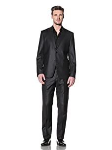 Versace Collection Men's City Fit Solid Suit with Sheen (Black)