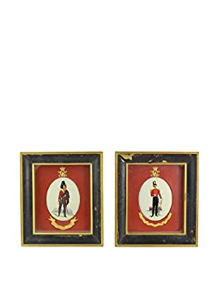 Uptown Down Set of 2 Vintage Soldier Artworks, Red/Black
