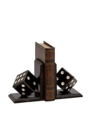 Wood Dice Bookend Set, Black/Brown