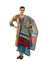 Kaalika Women's Cotton Kalamkari Salwar Suit (K-806-Freesize-Maroon/Blue/Mustard _Mustard _Free Size)