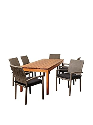 Amazonia Salem 7-Piece Eucalyptus Wicker Rectangular Dining Set with Cushions, Brown/Grey