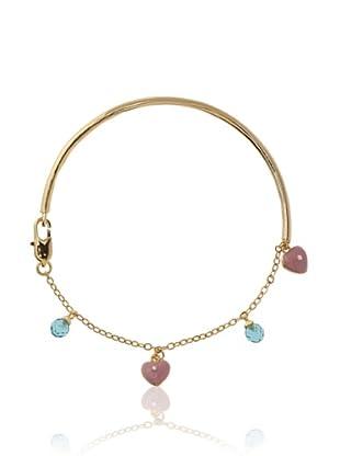 Frida Girl Hearts and Crystals Bracelet (Gold/Pink/Aqua)