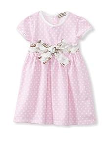 Darcy Brown London Girl's Beau Jersey Dress (Pink Polka Dot)