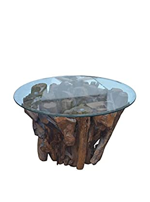 Jeffan Driftwood Accent Coffee Table With Glass Top, Natural