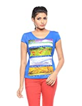 Trendy Girlz Women's Cotton Printed Classic Blue T-Shirt