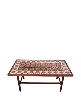 Moroccan Tile Coffee Table, Brown/White/Yellow/Black