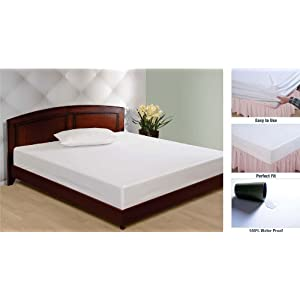 Swayam Weezar Water Proof Cotton Double Mattress Protector - White (MTP51-WHITE)