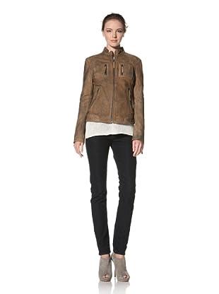 Buffalo David Bitton Women's Distressed Genuine Lamb Leather Jacket (Camel)