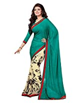 Beige Brown Georgette Party Saree with Unsitched Blouse 15903