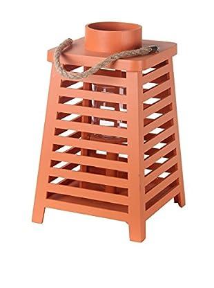 Privilege International Orange Wooden Lantern