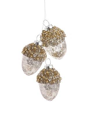 Raz Antique-Silver Acorn Cluster Ornament