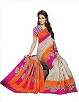 Orange & Pink Colour Faux Bhagalpuri Semi Party Wear Leaf Printed Saree 13353