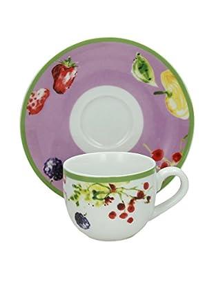Tognana Kaffeetasse Mit Untertasse 6er Set Sfera Naxos weiß/mehrfarbig
