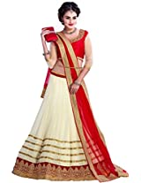 Cozer Womens Georgette Lehenga Choli (Ewcrwl1 _White::Red _Free Size)