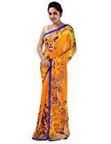 Yomeeto Faux Georgette Fabric Mustard Coloured Printed Saree