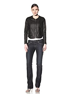 Hare + Hart Women's Davis Leather Jacket (Black)