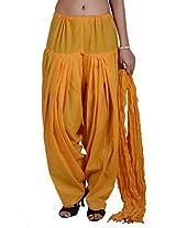 Jaipur Kala Kendra Women's Patiala Salwar Dupatta Set (10011_Yellow_Large)