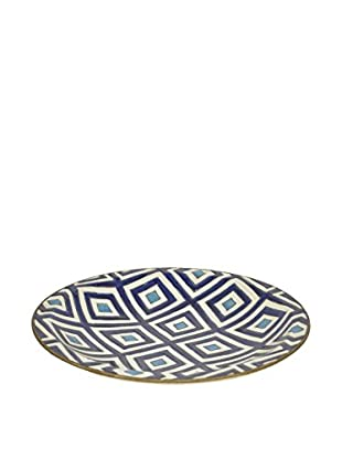 Three Hands Round Ceramic Plate, Blue And White