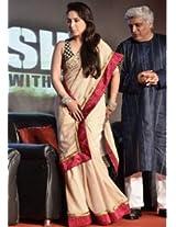 Ethnic Trend Moss Crepe Fabric Raw Silk Party Bollywood Replica Saree - 163 (Cream)