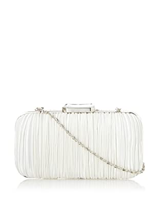 Jessica McClintock Women's Satin Pleated Minaudiere, Ivory