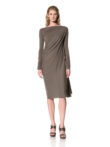 RICK OWENS Women's Long Sleeve Dress with Side Drape (Darkdust)