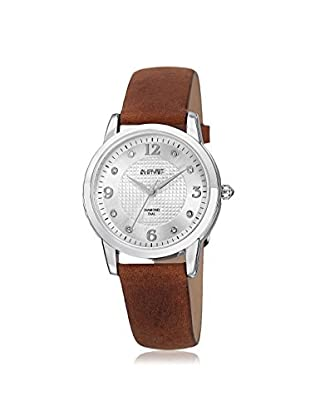 August Steiner Women's AS8198BR Round Embossed Box Pattern Brown/Silver-Tone Leather Watch