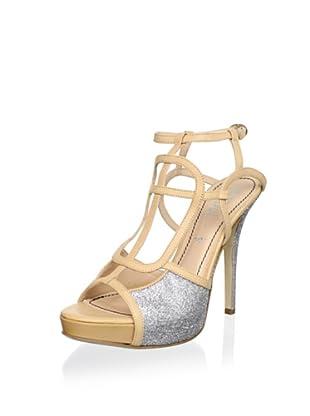 Jerome C. Rousseau Women's Park Platform Sandal (Glitter Silver/Natural)
