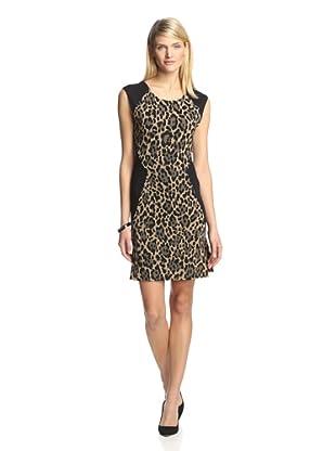 Twenty Tees Women's Sleeveless Sheath Colorblock Dress (Leopard/ Black)