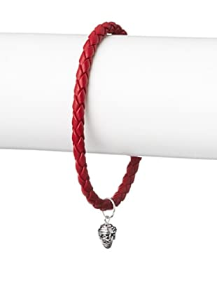 Link Up Skull Charm Red Woven Leather Bracelet