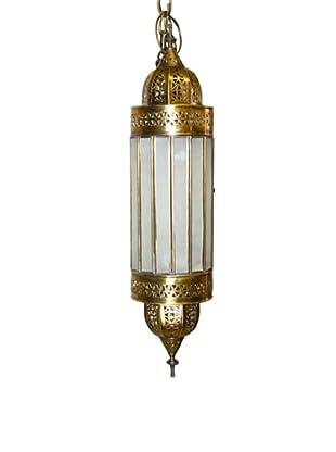 Badia Design Brass Shade with White Glass, Beige/White