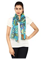 Anekaant Blue Floral Print Cotton Women's Scarf