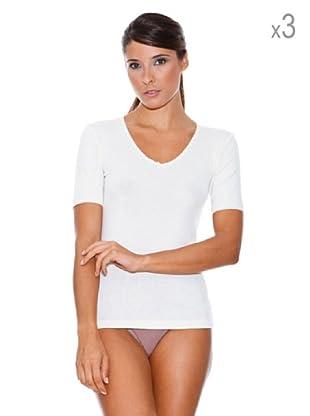 Princesa Pack x 3 Camiseta Cubre Manga Corta Thermal Cuello Pico (Blanco Roto)