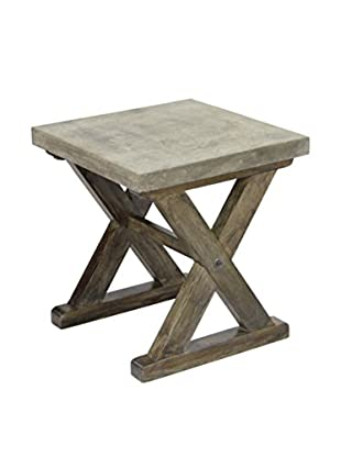 CDI Furniture Concrete & Mango Wood Side Table, Brown/Grey